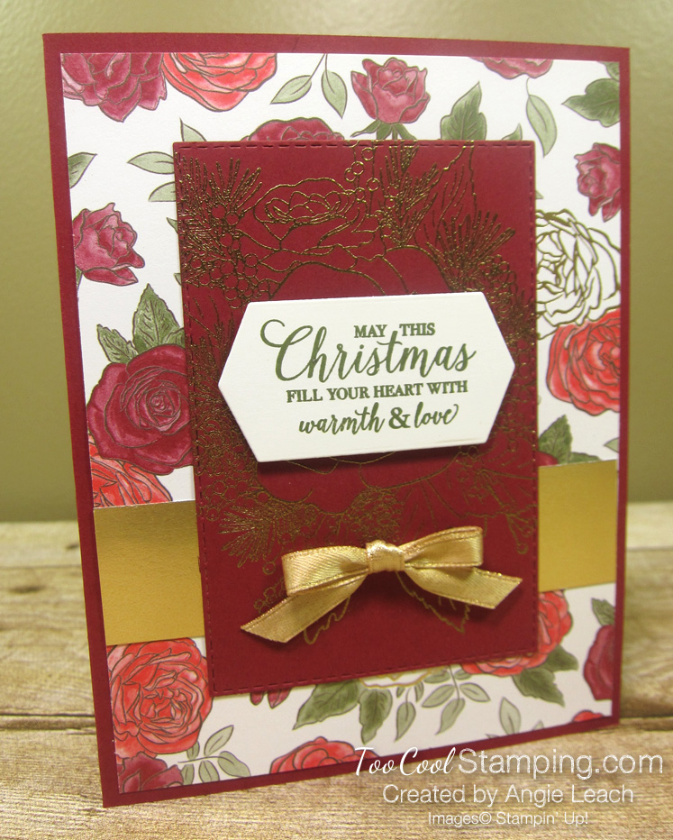 7 christmastime is here - cherry gold emboss