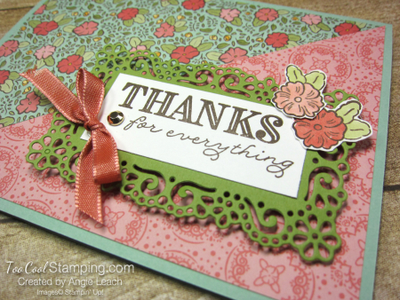 Ornate Garden Diagonal Thanks - mint blooms 3