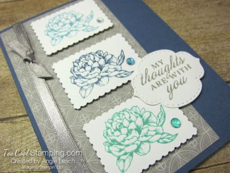 Prized Peony Postage Stamp Trio - misty 2
