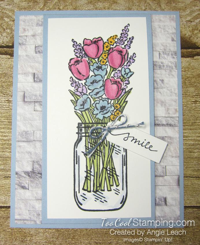 Jar of flowers front flap smile - seaside