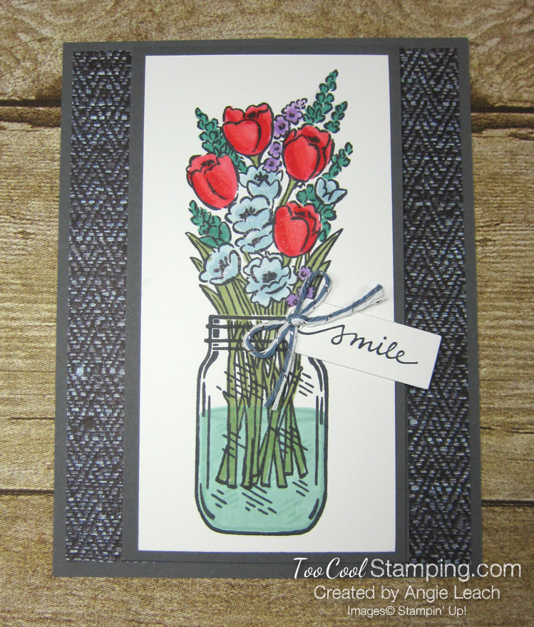 Jar of flowers front flap smile - gray