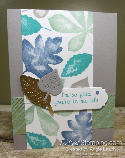 Love of leaves stamped panel - mint 1