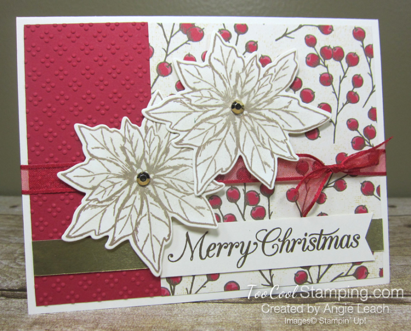 Poinsettia Petals Merry Christmas cards - red