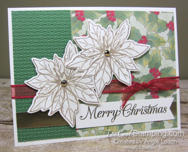 Poinsettia Petals Merry Christmas cards - green
