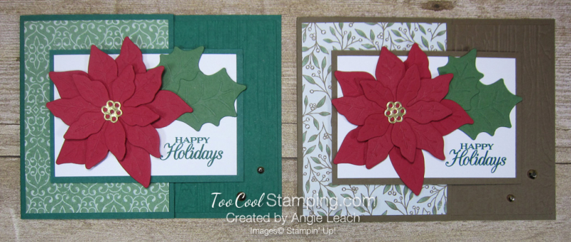 Poinsettia Petals Happy Holidays cards - two cool
