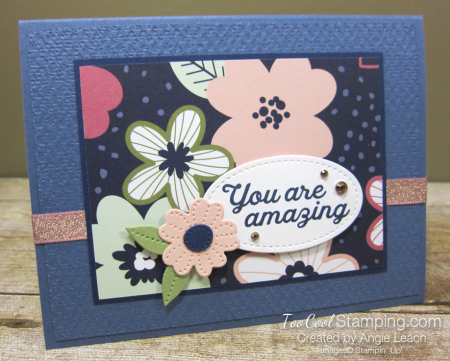 Paper blooms navy background - misty