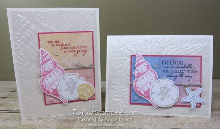 Pearlescent Seashells cards - two cool