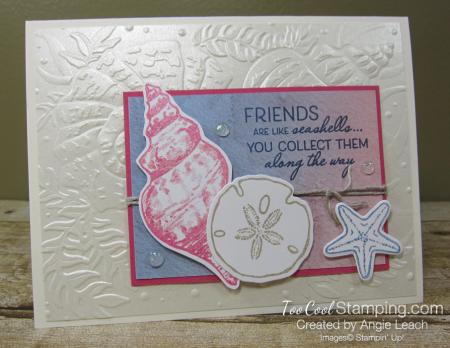 Pearlescent Seashells cards - seaside