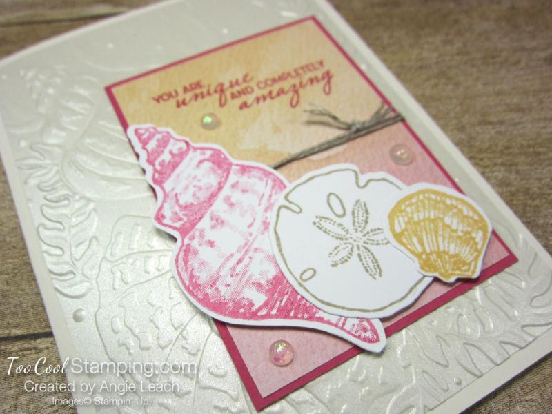 Pearlescent Seashells cards - saffron 2