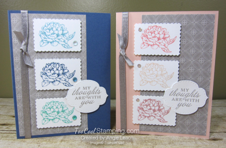 Prized Peony Postage Stamp Trio - two cool