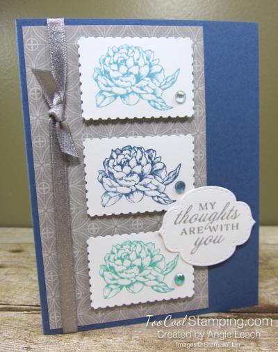 Prized Peony Postage Stamp Trio - misty