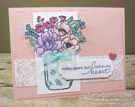 Jar of flowers miles apart - petal pink