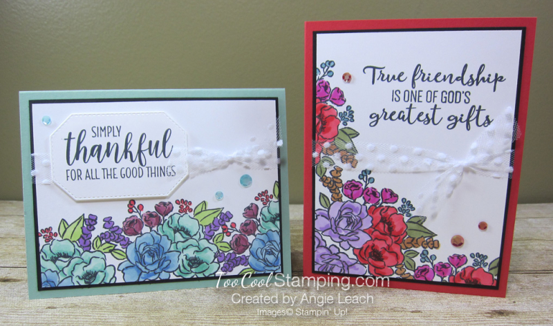 Jar of Flowers border cards - two cool