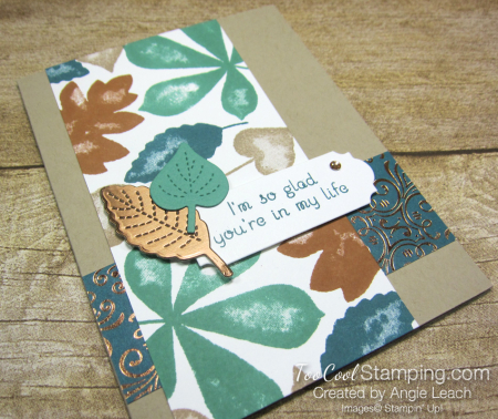 Love of leaves stamped panel - peacock 2