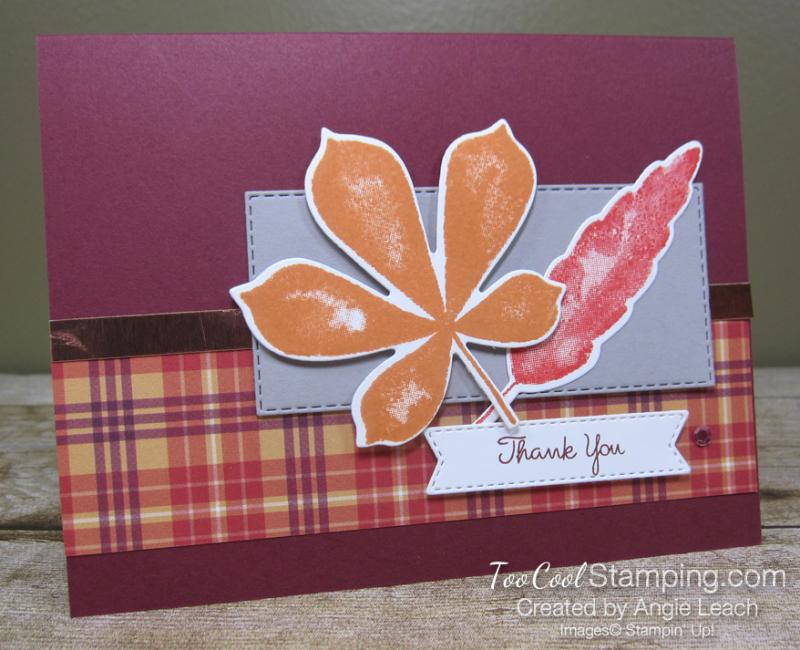 Love of leaves plaid thank you - merlot
