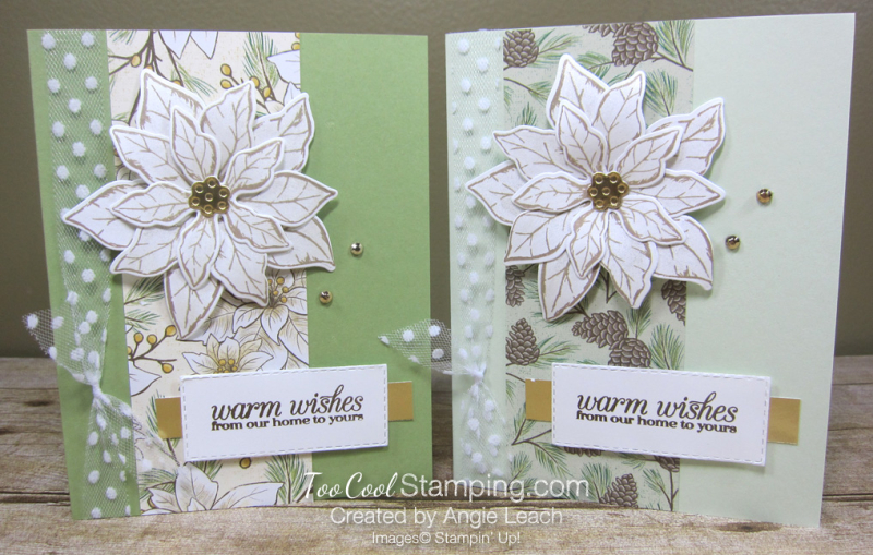 Poinsettia Petals Warm Wishes cards - two cool