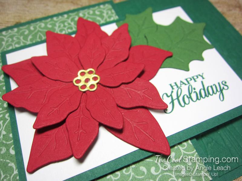 Poinsettia Petals Happy Holidays cards - shaded 4