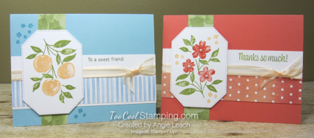 Sweet As A Peach stamped trio - two cool