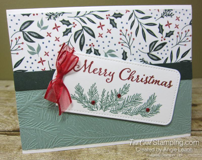 Evergreen elegance merry tag - white