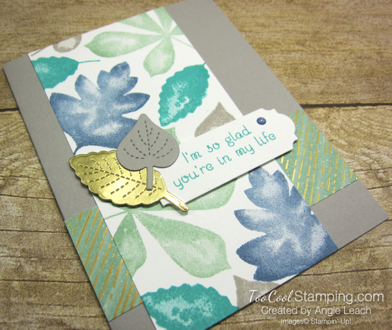 Love of leaves stamped panel - mint 2