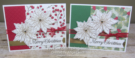 Poinsettia Petals Merry Christmas cards - two cool