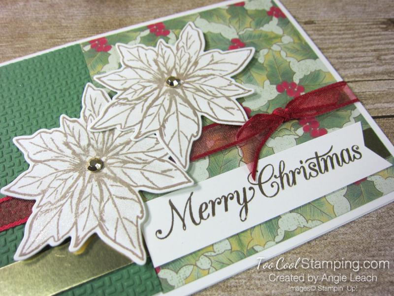 Poinsettia Petals Merry Christmas cards - green 2