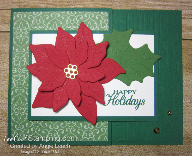 Poinsettia Petals Happy Holidays cards - shaded