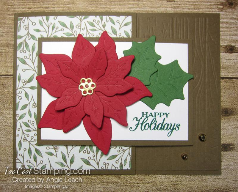 Poinsettia Petals Happy Holidays cards - suede