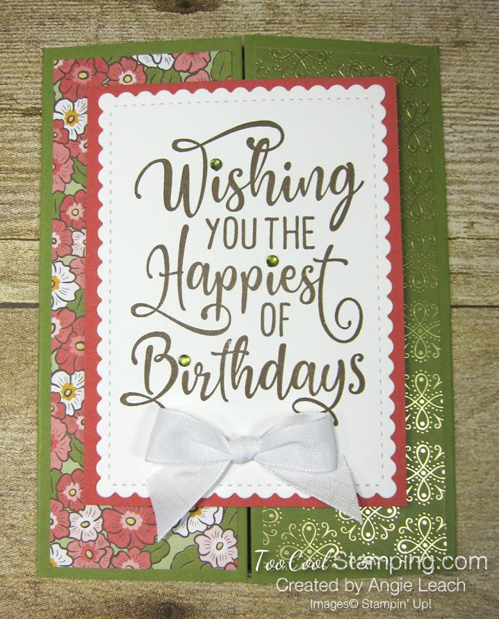 Happiest of Birthdays gate fold - olive