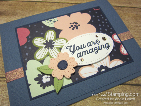 Paper blooms navy background - misty 2
