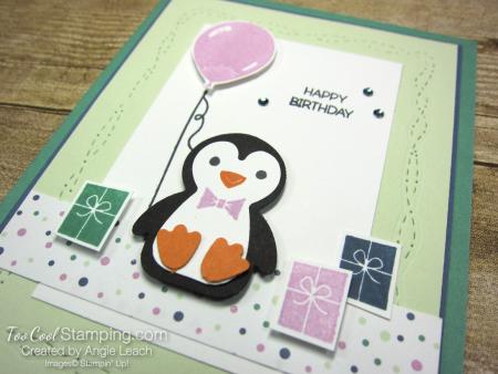 Penguin Place birthday with balloon -  sea foam 2