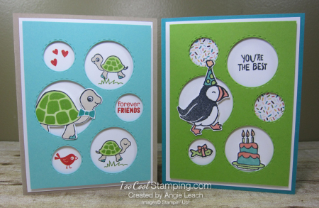 Turtle friends and puffin party - two cool