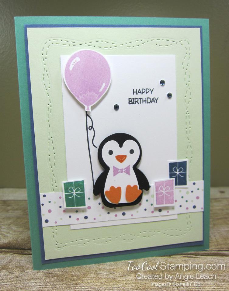 Penguin Place birthday with balloon -  sea foam 1